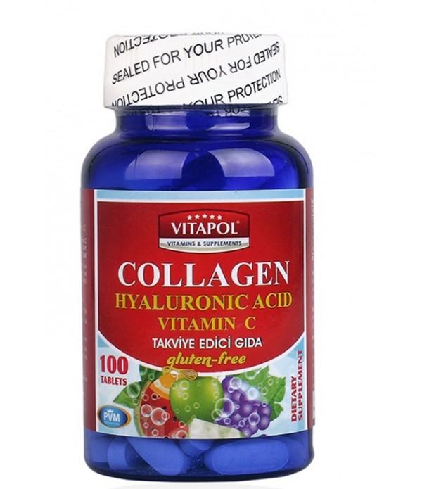 Vitapol Collagen Hyaluronic Acid Vitamin C 100 Tab...